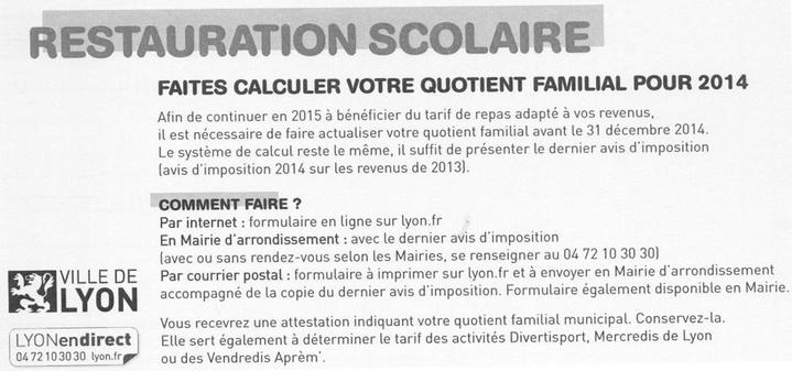 Attention Calcul Du Quotient Familial 2014 Ecole Primaire Michel